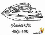 Jet Ski Coloring Boat Kawasaki Bass Paper Boats Template Printables Yescoloring Sxr Fishing Coolest sketch template