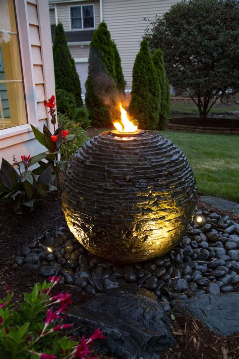 medium stacked slate sphere landscape fountain kit