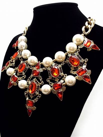 Statement Necklace Chunky Pearl Luxe Jeweled Deco