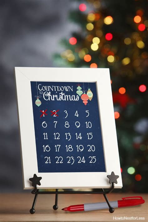 christmas countdown calendar  printable   nest