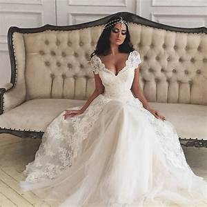 custom made beach white wedding dress 2016 v neck With v neck wedding dress with sleeves