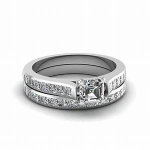 asscher cut channel set diamond wedding ring sets in 14k With asscher cut wedding ring set