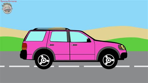 Cars. Coloring Book. Pink Suv. Cartoon For Kids.