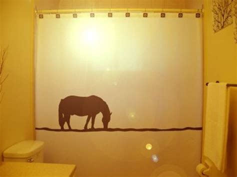 lonely horse shower curtain western theme bathroom decor