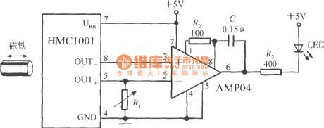 the proximity switch circuit with integrated magnetic field sensor hmc1001 basic circuit