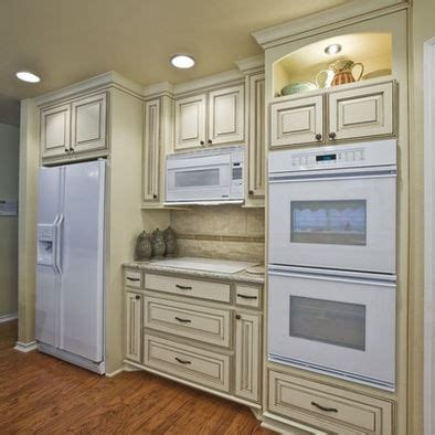 off white cabinets with brown glaze love the glazed cabinets the white appliances