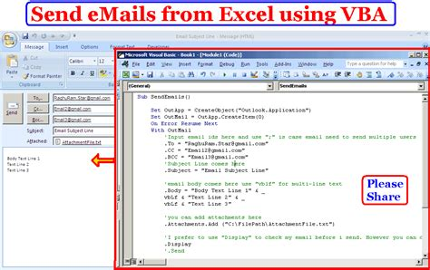 learn to compose and send emails from excel using vba