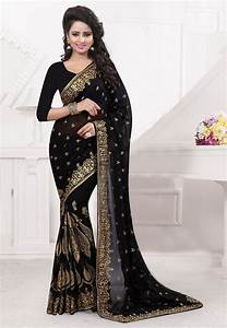 Embroidered Georgette Saree In Black   Sbz2687