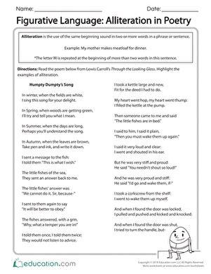 Figurative Language Practice  Worksheet Educationcom
