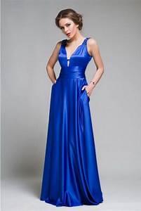 Long Evening Dress Cobalt Blue Satin Gown Floor Length