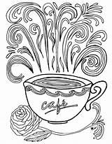 Coloring Coffee Printable Coloriage Adult Complex Theme Nature Sheets Colouring Adults Printables Books Cup Colorier Imprimer Historique Sylvie Popular Colour sketch template
