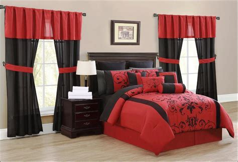 Elegant Black And Red Maroon Curtains For Bedroom