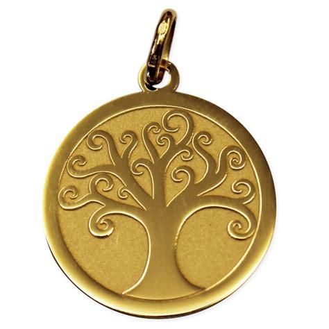 m 233 daille arbre de vie polie satin 233 e en or jaune une id 233 e