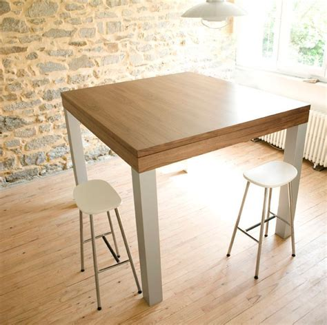 grande table haute design noyer alu pas cher