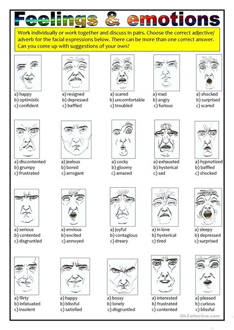 new describing feelings worksheets goodsnyc