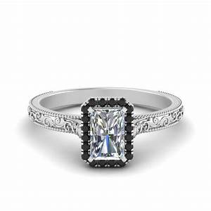 Hand Engraved Radiant Cut Halo Engagement Ring With Black ...