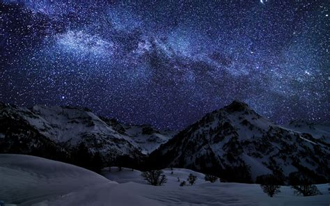 Mountains Landscapes Nature Winter Snow Night Stars