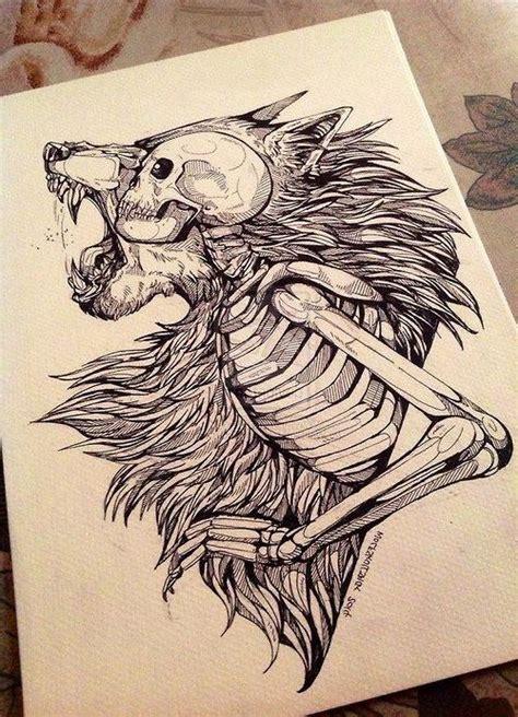 Skeleton Warewolf Tattoo Sketch Totem Pinterest