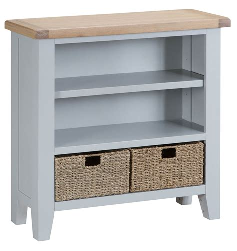 Assembled Bookcases by Woodbridge Grey Small Wide Bookcase Fully Assembled