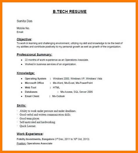 It Fresher Resume Format by 12 13 Fresher Resume Sle Usa Scbots