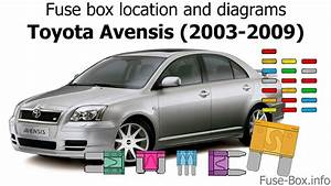 Fuse Box Location And Diagrams  Toyota Avensis  2003