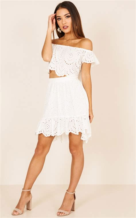 First Date Vibes Two Piece Set White Lace Showpo