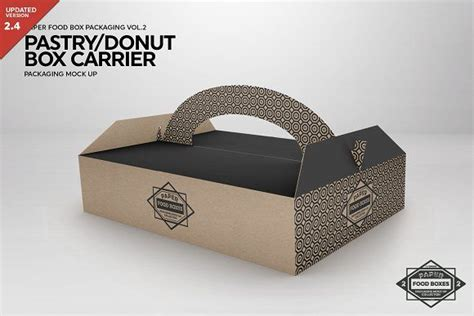 Free hand holding corrugated cardboard box mockup psd. Pastry/Donut Box Carrier Mockup | Food box packaging ...