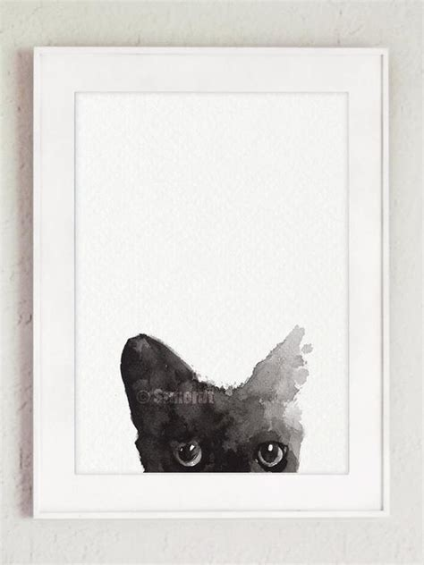 Abstract Black Cat Watercolor by Black Cat Painting Custom Pet Portrait Black Watercolor