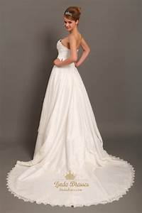 ivory a line strapless chapel train taffeta applique With taffeta wedding dress