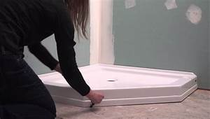 Neo angle shower base installation youtube for Installing a shower tray on concrete floor