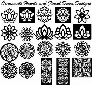 Ornaments Hearts floral decor designs-DXF files Cut Ready