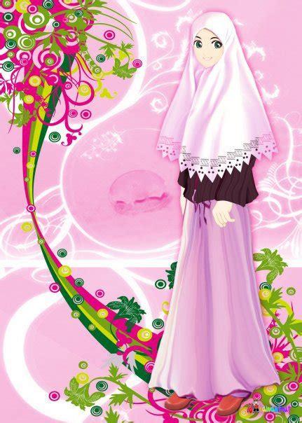 gambar kartun wanita berkerudung gambar pemandangan