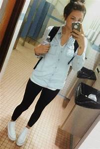 Denim shirt leggings white high top converse   Outfitss   Pinterest   Chambray Casual and ...