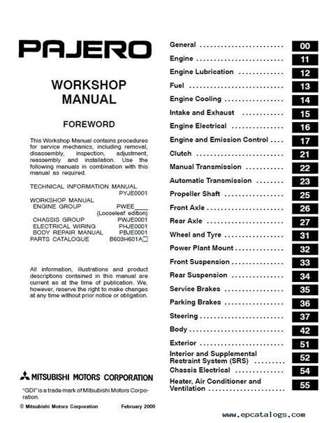 car service manuals pdf 1988 mitsubishi pajero on board diagnostic system mitsubishi pajero montero workshop manual pdf