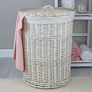 Keswick, White, Wash, Round, Wicker, Laundry, Basket