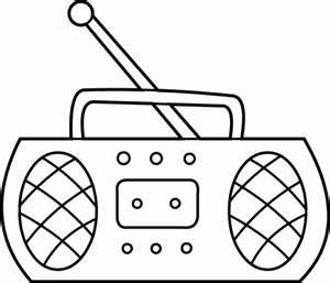 Black & White clipart radio - Pencil and in color black ...