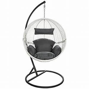 Fauteuil De Jardin Suspendu : tectake chaise hamac avec support fauteuil suspendu de jardin balancelle transat blanc avant ~ Teatrodelosmanantiales.com Idées de Décoration