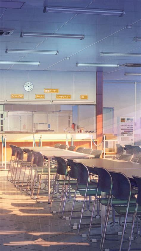 anime building school cafeteria sunshine windows