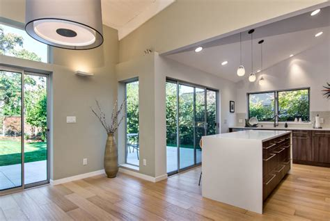 sloped ceilings midcentury kitchen san francisco