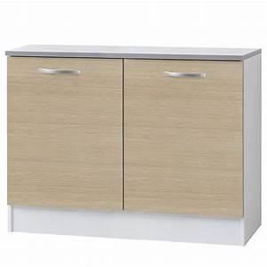 Meuble Bas 2 Portes : meuble bas 2 portes 120cm smarty naturel ~ Dallasstarsshop.com Idées de Décoration