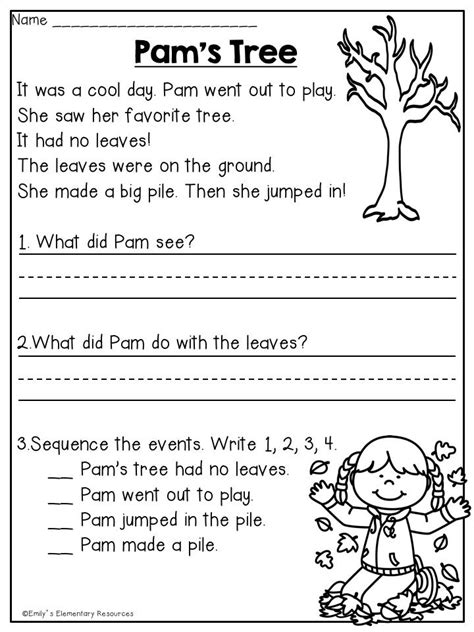 fall  grade reading writing printables writing
