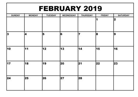 Calendar Template 2019 February 2019 Calendar Template Printable Yearly Calendar