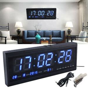 blue large jumbo digital led wall clock desk calendar