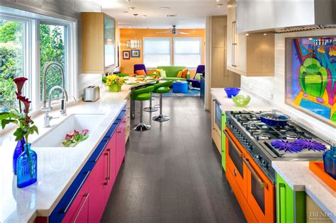 colorful kitchen colorful kitchen with orange range mixes colored cabinets