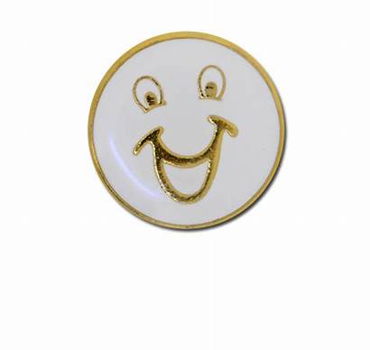 Face Gold Badge Round Happy Plated Smiley