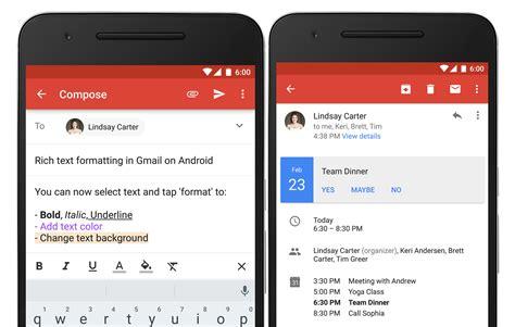 gmail apps for android gmail 6 0 vous laissera mettre en forme vos emails sur