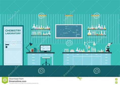 Science Lab Interior Or Laboratory Room. Stock Vector