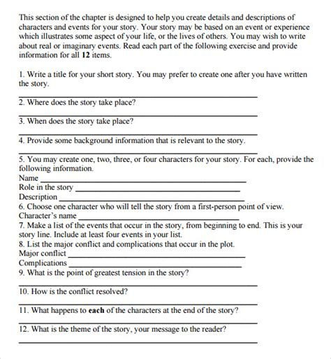 story outline template 10 story outline sles sle templates