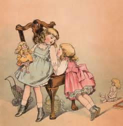 vintage paper design free clip children with dolls the graphics