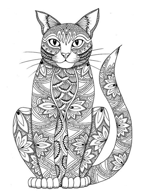 Cat Coloring Page By Miedzykreskami On Etsy Adult